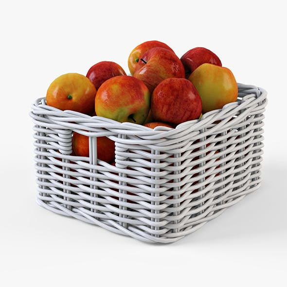 Wicker Apple Basket Ikea Byholma 1 White - 3DOcean Item for Sale
