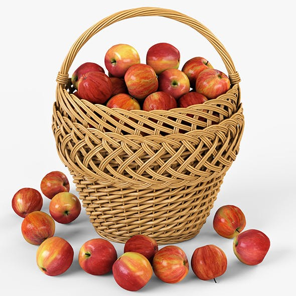 Wicker Basket 01 with Apples - 3DOcean Item for Sale