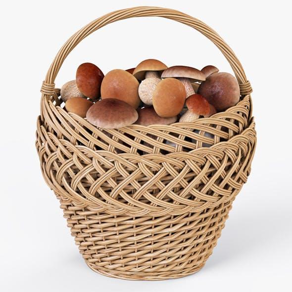 Wicker Basket 01 with Mushrooms