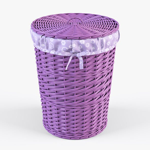 Wicker Laundry Basket 03 (Purple Color)