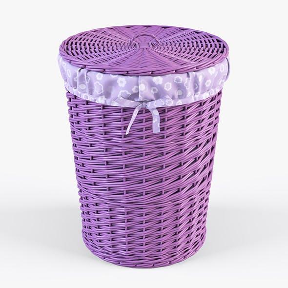 Wicker Laundry Basket 03 (Purple Color)