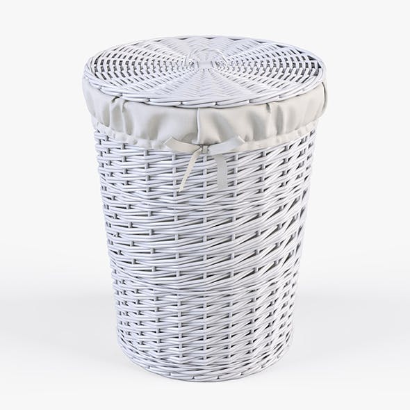 Wicker Laundry Basket 03 (White Color)