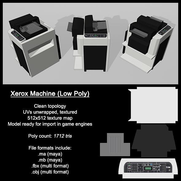Low Poly Xerox Machine - 3DOcean Item for Sale