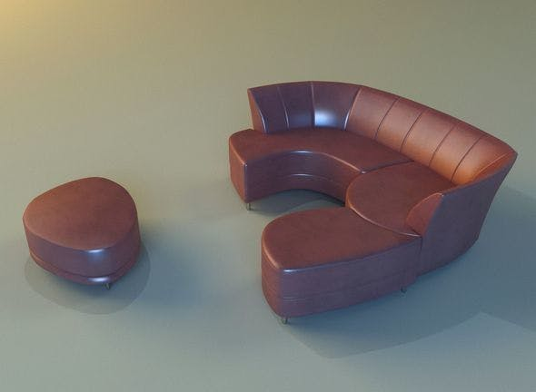 Sofa luxury leather banket - 3DOcean Item for Sale