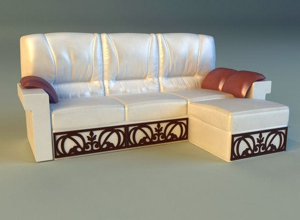 Leather corner sofa wood decor - 3DOcean Item for Sale