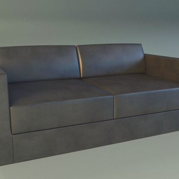 Sofa leather black modern