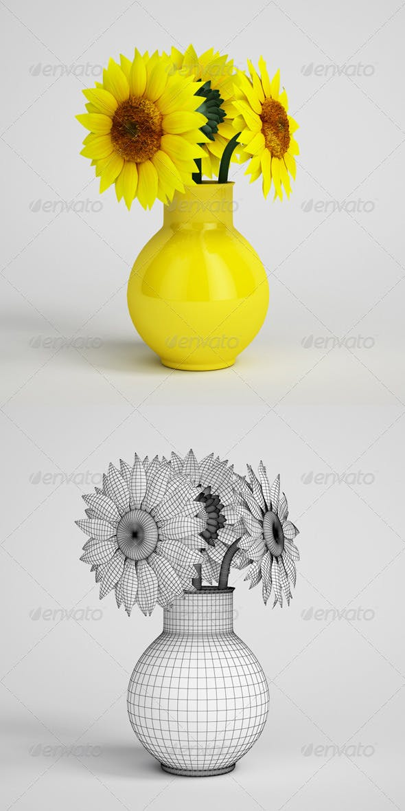 CGAxis Sunflowers in Yellow Vase 14 - 3DOcean Item for Sale