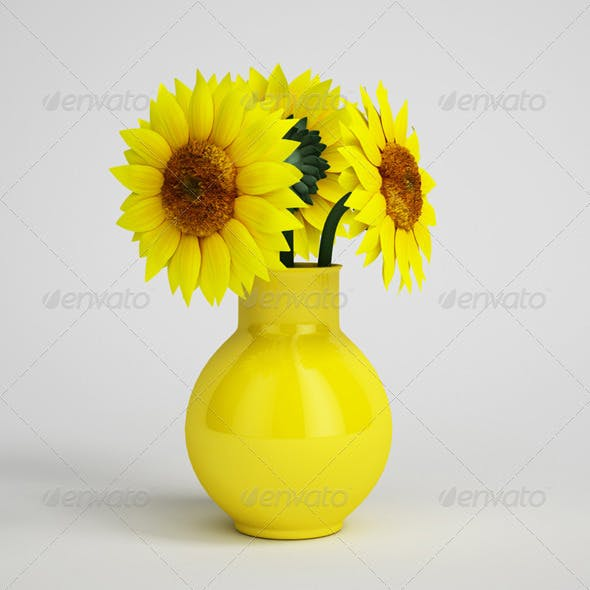 CGAxis Sunflowers in Yellow Vase 14