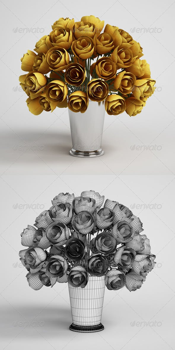 CGAxis Flower Bouquet in Vase 15 - 3DOcean Item for Sale