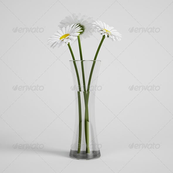 CGAxis Daisies in Vase 24