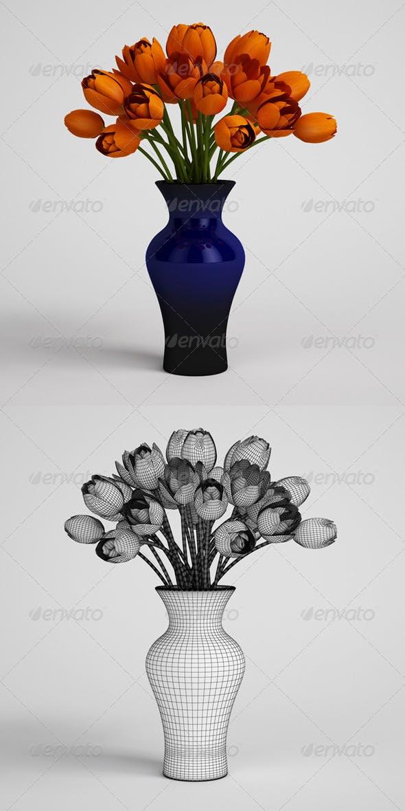 CGAxis Orange Tulips in Blue Vase 25 - 3DOcean Item for Sale