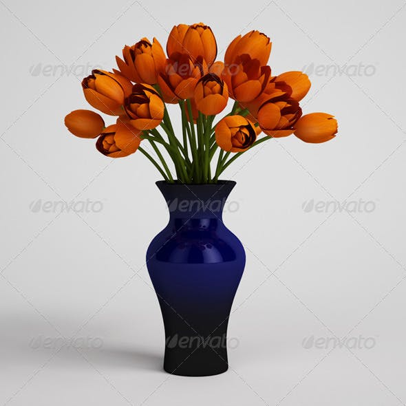 CGAxis Orange Tulips in Blue Vase 25