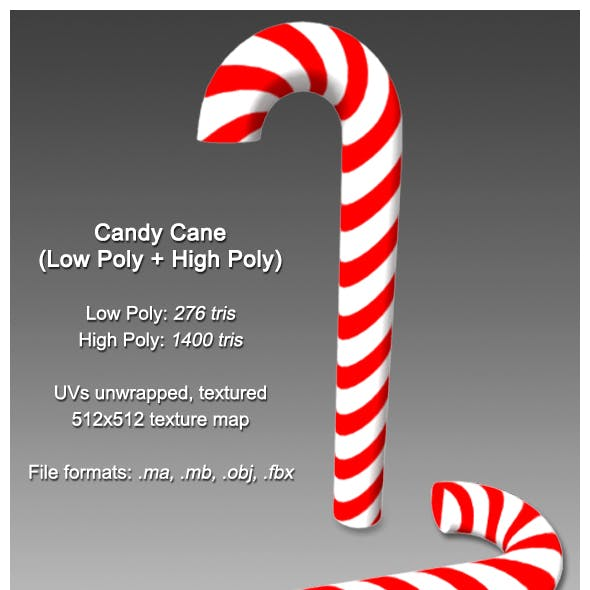 Candy Cane (Low Poly + High Poly)