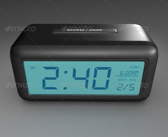 Digital Alarm Clock - 3DOcean Item for Sale