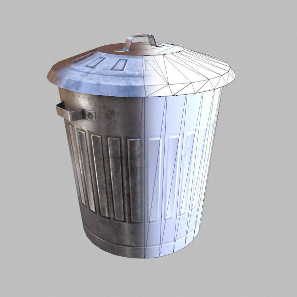 Low Poly Game Ready Trash Can