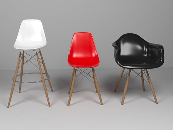 Eames Chairs Set - 3DOcean Item for Sale