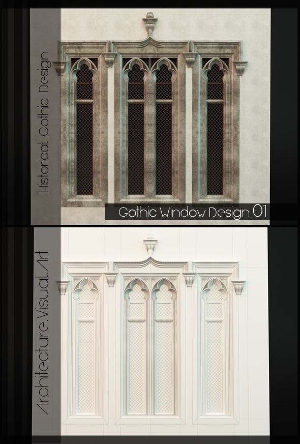 Gothic Style Window 01 - 3DOcean Item for Sale