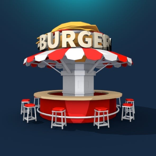 Burger Stand Low Poly