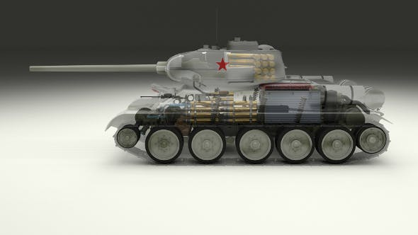 T-34/85 Interior/Engine Bay Full Winter Camo - 3DOcean Item for Sale