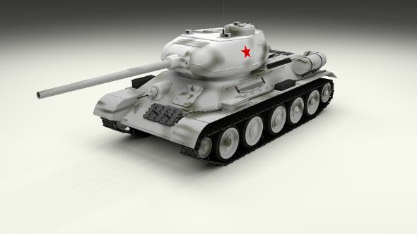 T-34/85 Tank Winter Camo - 3DOcean Item for Sale