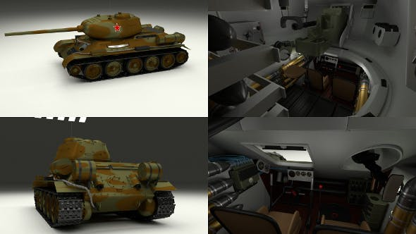 T-34-85 with Interior Camo - 3DOcean Item for Sale