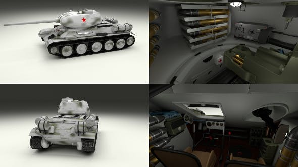 T-34-85 with Interior Winter Camo - 3DOcean Item for Sale