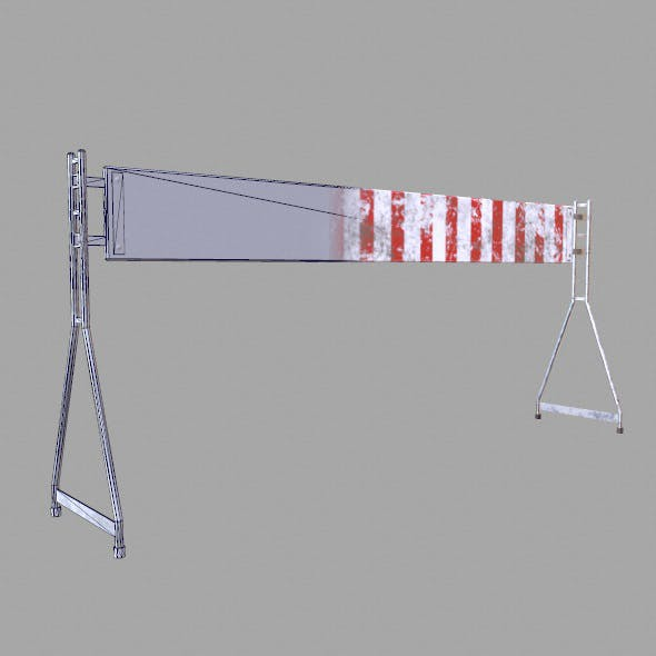 Low Poly Game Ready Road Barrier - 3DOcean Item for Sale
