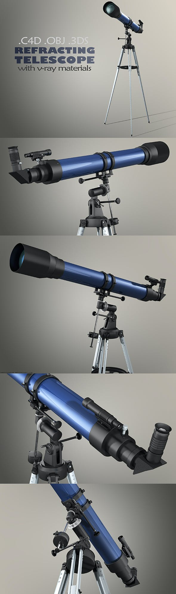 Refractor Telescope with Vray Materials - 3DOcean Item for Sale