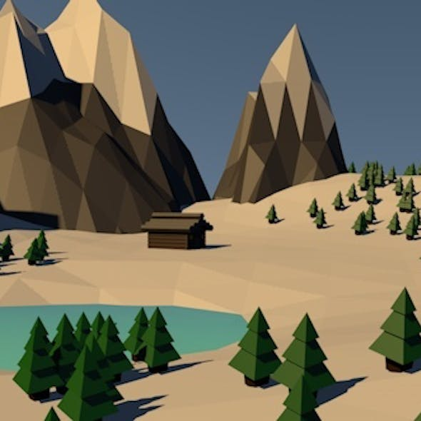 Low Poly Winter Mountains Landscape