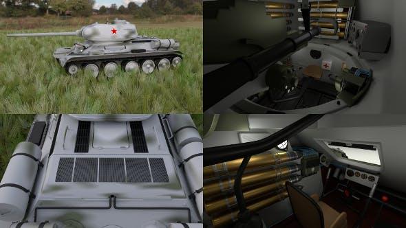 T-34-85 with Interior HDRI Winter Camo - 3DOcean Item for Sale