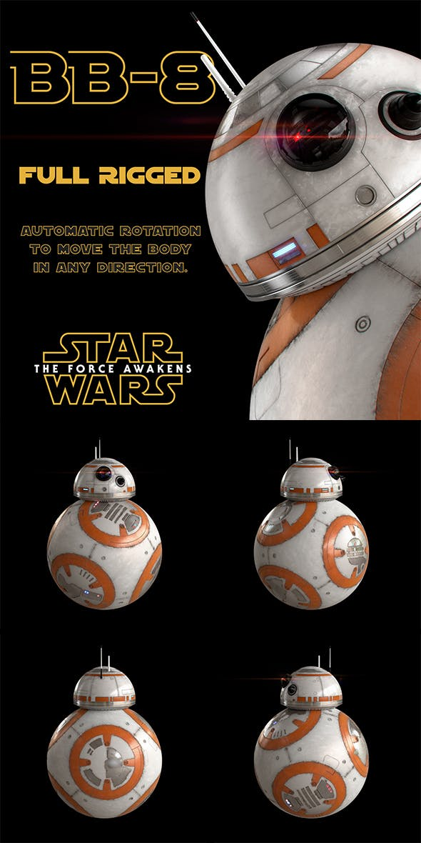 BB-8 Star Wars Droid Full Rigged - 3DOcean Item for Sale