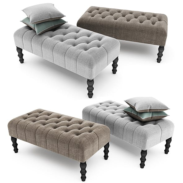 Footstool Upholstered with buttons - 3DOcean Item for Sale