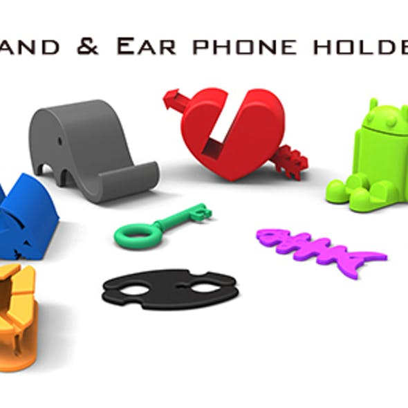 Mobile phone stand and ear phone holder