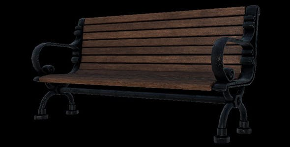 Bench park with 3 level detail of polygon - 3DOcean Item for Sale