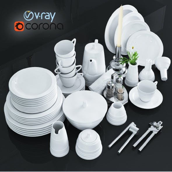 A set of dishes and kitchen appliances