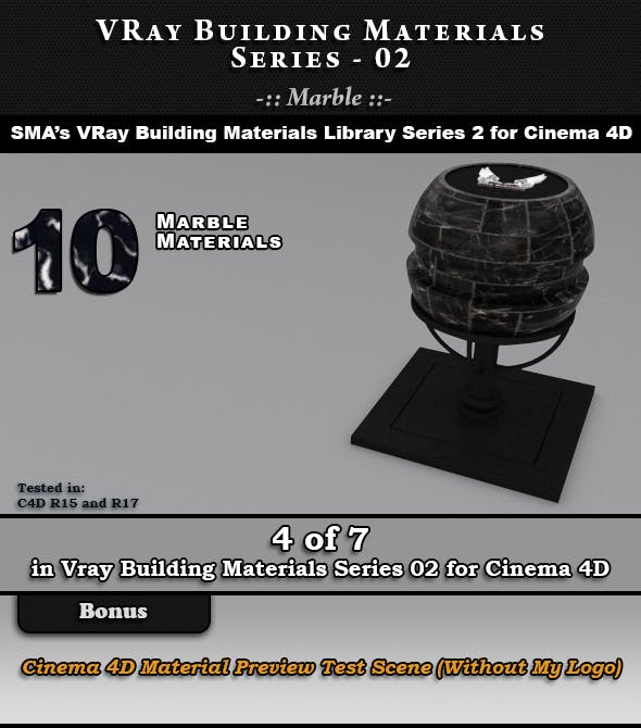 VRay Building Materials S02 - Marble for C4D - 3DOcean Item for Sale