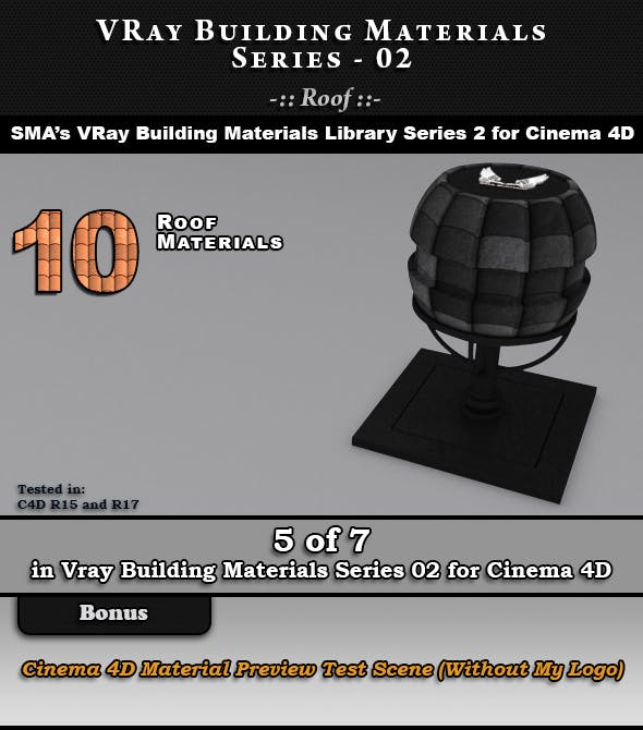 VRay Building Materials S02 - Roof for C4D - 3DOcean Item for Sale