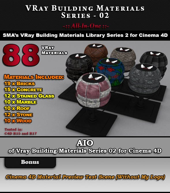 VRay Building Materials S02 - AIO for C4D by smabukhari | 3DOcean