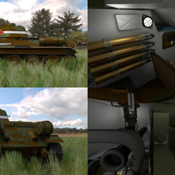 T34/76 Tank with Interior HDRI Camo