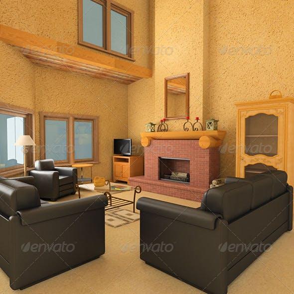 Living Room 1 - 3DOcean Item for Sale