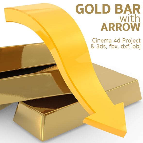 Gold bars with arrow - 3DOcean Item for Sale