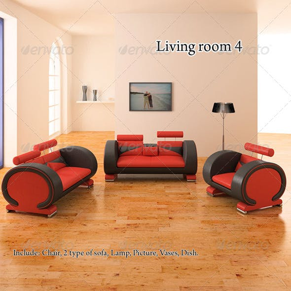 Living Room 4 - 3DOcean Item for Sale