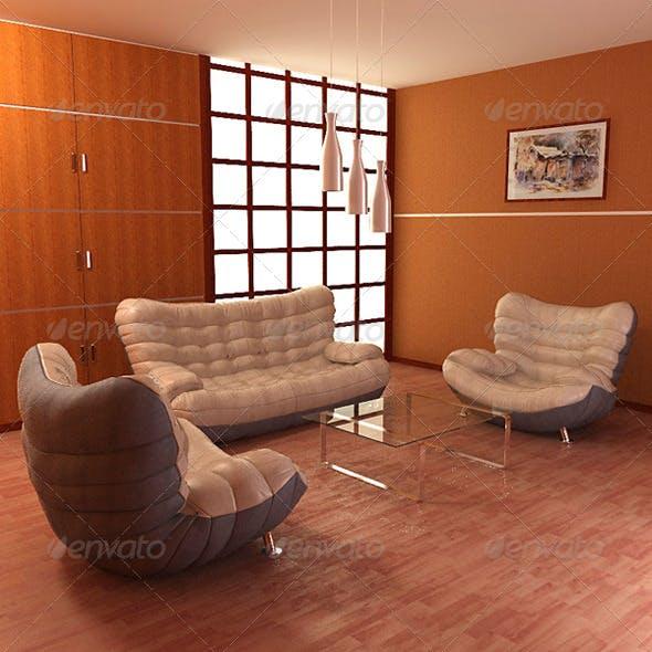 Living Room 5 - 3DOcean Item for Sale