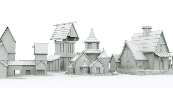 Low Poly House Assets - 3DOcean Item for Sale