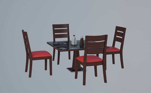 Low Poly Table and Chairs - 3DOcean Item for Sale