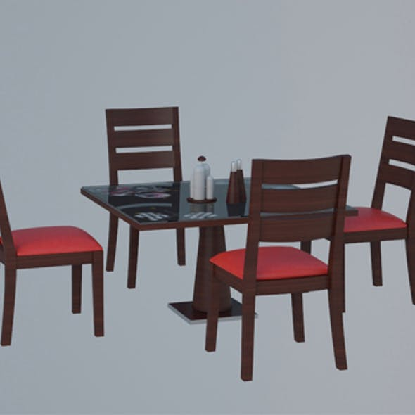 Low Poly Table and Chairs