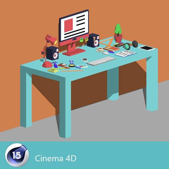 Desk office illustrator