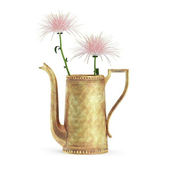 Pink Flowes in Golden Teapot