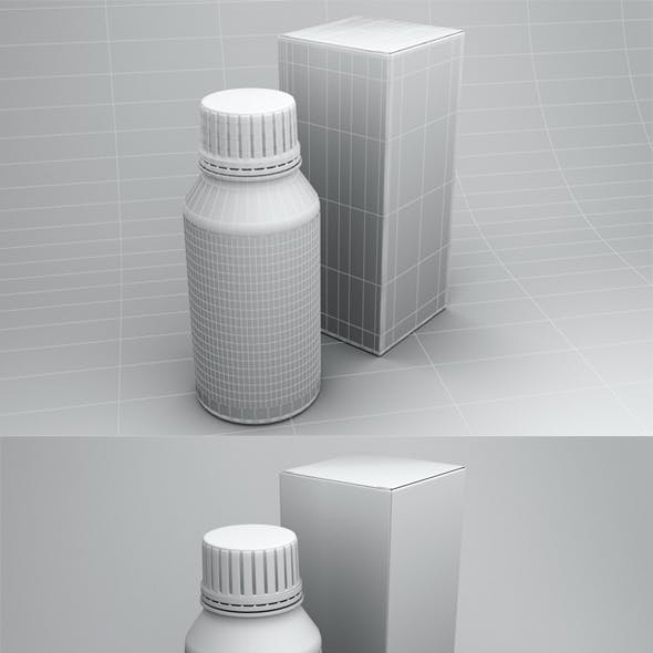 high poly Medical bottles and box