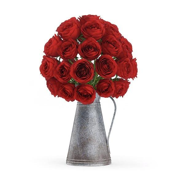 Red Roses in Metal Kettle